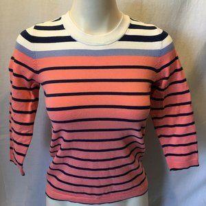 Eddie Bauer Women's Peach Blue White Striped
